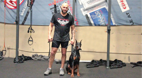 randy couture with protection dogs